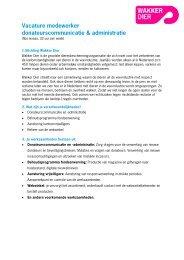 Vacature donateurscommunicatie en administratie - Wakker Dier