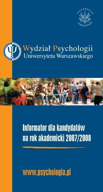 Pobierz informator - Wydział Psychologii Uniwersytetu Warszawskiego