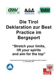 Die Tirol Deklaration zur Best Practice im Bergsport - Alpine Action