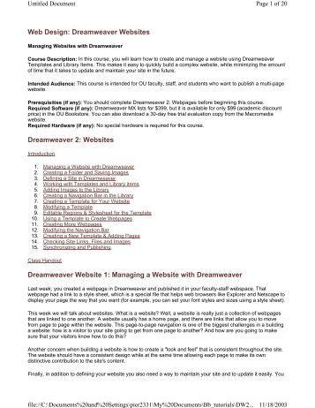 Web Design: Dreamweaver Websites Dreamweaver 2: Websites ...