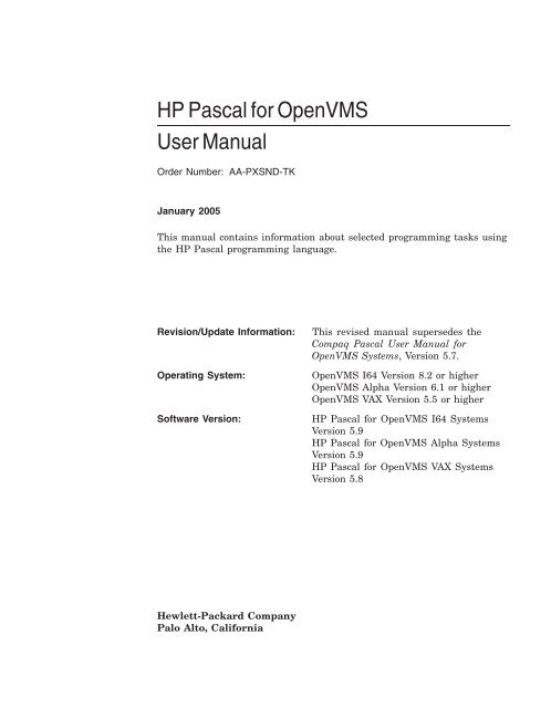 HP Pascal for OpenVMS User Manual - OpenVMS Systems
