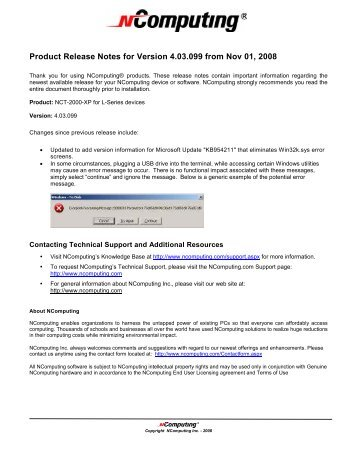 Product Release Notes for Version 4.03.099 from Nov 01, 2008