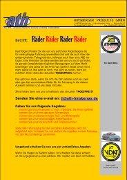 Betrifft: Räder Räder Räder Räder - ATH, Hinsberger Products GmbH