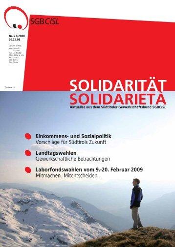 Einkommens- und Sozialpolitik Vorschläge für ... - SGB - CISL