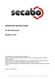OPERATING INSTRUCTIONS for the heat press Secabo TC D7