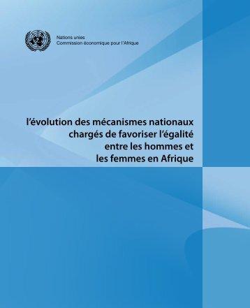 l'évolution des mécanismes nationaux chargés de favoriser l'égalité ...