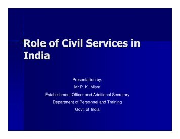 Role of Civil Services in India - UP Academy