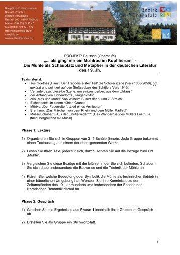 Station Mühle: Arbeitsblatt für das Fach Physik, Mittel- und Oberstufe