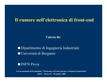il rumore in elettronica - Pavia Fisica Home Page - Infn