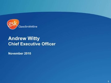 Andrew Witty, CEO, GSK - Presentation at Credit Suisse - Nov 2010
