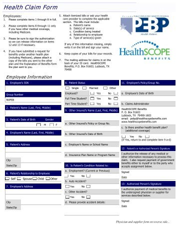 Generic Medical Claim FormGeneric Claim Form