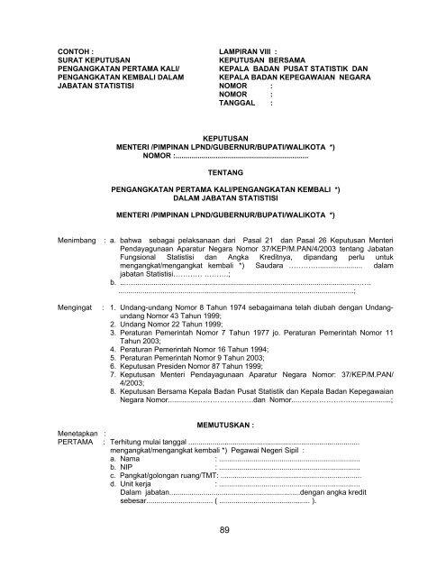 Contoh Lampiran Viii Surat Keputusan Pengangkatan