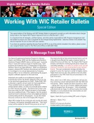 Working With WIC Retailer Bulletin - Office of Family Health Services