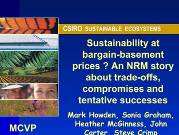 Sustainability at bargain-basement prices ? An NRM story about ...