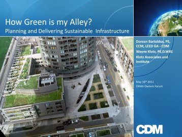 How Green is my Alley? - CMAA