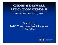 CHINESE DRYWALL LITIGATION WEBINAR