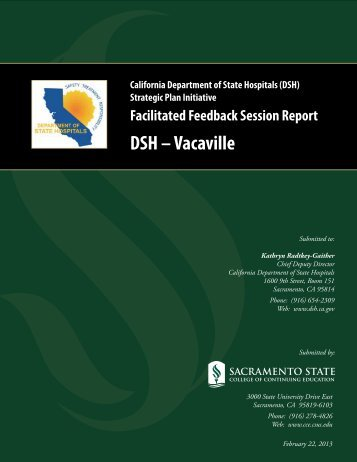 Facilitated Feedback Session Report - Dept of State Hospitals
