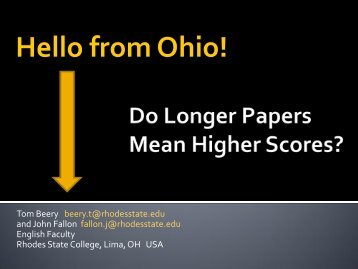 Correlations between Longer Student Papers and Higher ... - NCPN