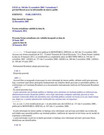 LEGE nr. 544 din 12 octombrie 2001 (*actualizata*) privind liberul ...
