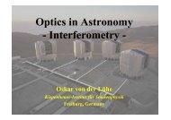 Optics in Astronomy - Interferometry -