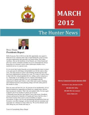 hunter news - march 2012 - The Royal Canadian Legion - Branch ...