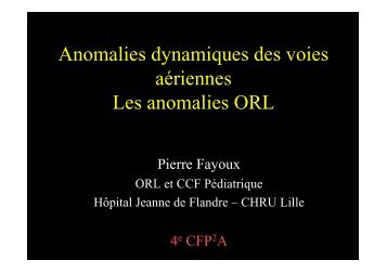 Les anomalies ORL
