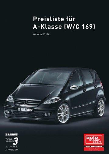 Preisliste für A-Klasse (W/C 169) - Brabus