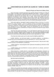 CARACTERÍSTICAS DA ESCRITA DE ALUNOS DA 1ª SÉRIE DO ...