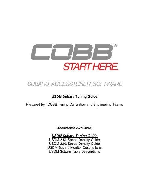 SUBARU ACCESSTUNER SOFTWARE - Cobb Tuning