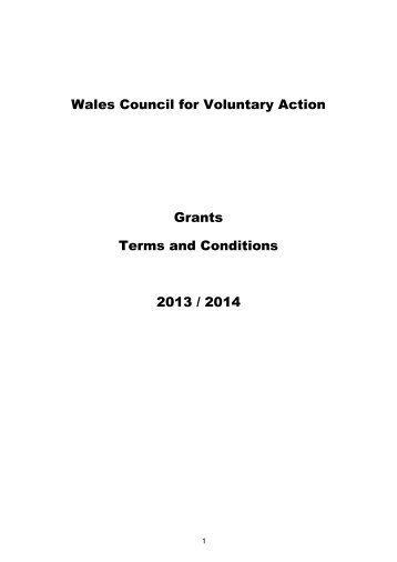 Wales Council for Voluntary Action Grants Terms and ... - WCVA