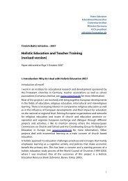 Holistic Education and Teacher Training (revised ... - Comenius-Institut