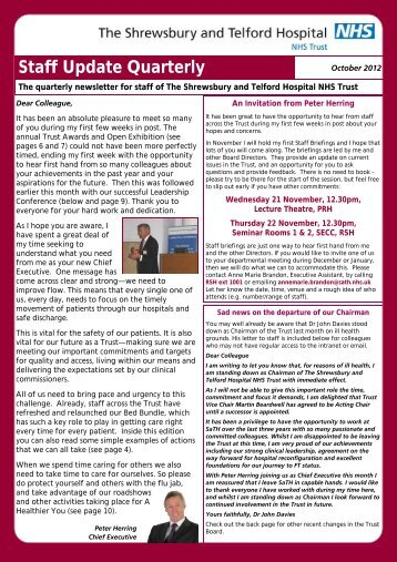 October 2012 - Royal Shrewsbury Hospitals NHS Trust