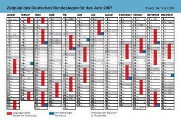 Zeitplan des Deutschen Bundestages für das Jahr 2007