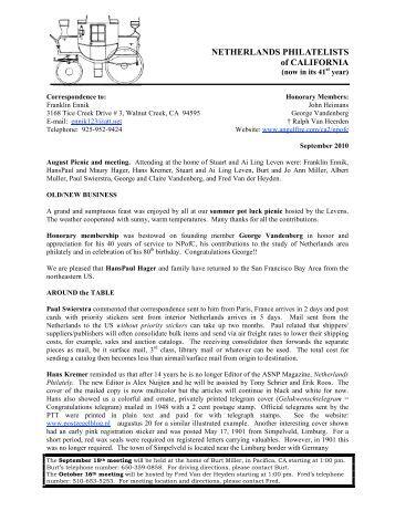 September 2010 Newsletter - Netherlands Philatelists of California ...
