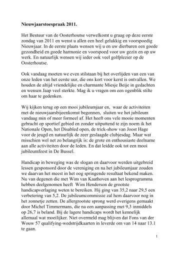 Nieuwjaarstoespraak 2011. Het Bestuur van de Oosterhoutse ...