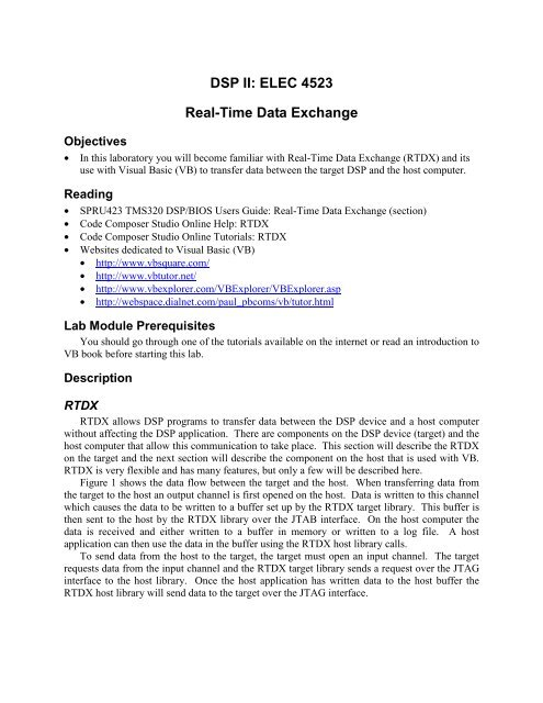 DSP II: ELEC 4523 Real-Time Data Exchange - Faculty