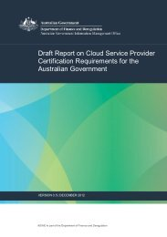 Draft Report on Cloud Service Provider Certification ... - About AGIMO