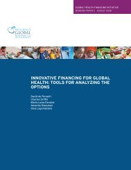 innovative financing for global health: tools for analyzing the options