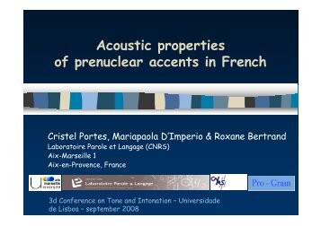 Acoustic properties of prenuclear accents in French - Laboratoire ...