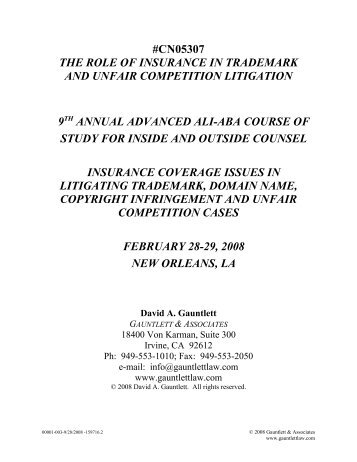 cn05307 the role of insurance in trademark and unfair competition  ...