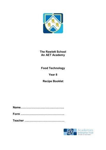 Yr8 Recipe Book 2012.pdf - The Rawlett School