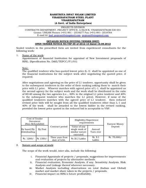 A Govt  of India Enterprises) Sealed tenders in the presc - Vizag Steel