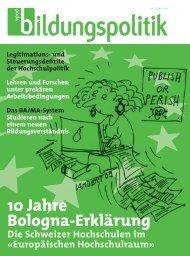 10 Jahre Bologna-Erklärung - vpod-bildungspolitik