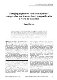 Changing regimes of science and politics: comparative and