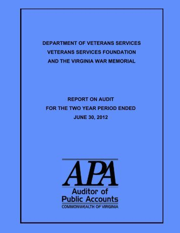 Department of Veterans Services and the Veterans Services ...