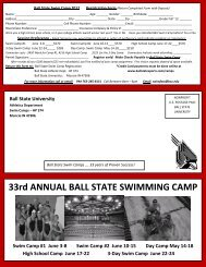 33rd ANNUAL BALL STATE SWIMMING CAMP Swim Camp #1 ...