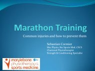 Marathon Training – Injury Prevention and treatment