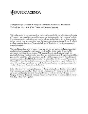 Strengthening Community College Institutional ... - Public Agenda