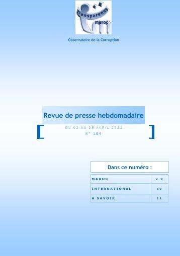 Revue de presse n° 154 du 02 au 08 avril - Transparency