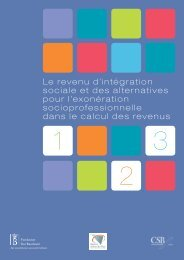 Le revenu d'intégration sociale et des alternatives pour l'exonération ...